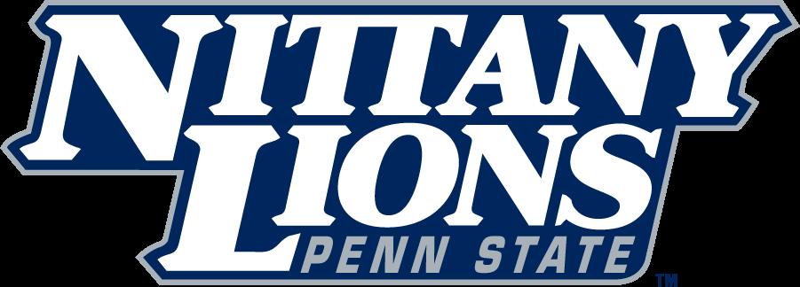 Penn State Nittany Lions Logo Wordmark Logo (1996-2008) - Stacked NITTANY LIONS above PENN STATE in navy and gray. SportsLogos.Net