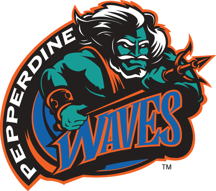 Pepperdine Waves Logo Primary Logo (1998-2003) - Neptune in waves with script SportsLogos.Net