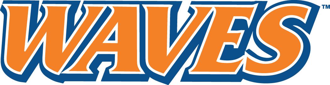 Pepperdine Waves Logo Wordmark Logo (2004-Pres) - Waves in orange with blue outline SportsLogos.Net