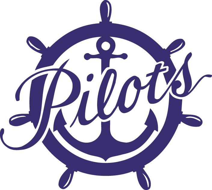 Portland Pilots Logo Primary Logo (1992-2005) - Purple anchor in wheel with script SportsLogos.Net