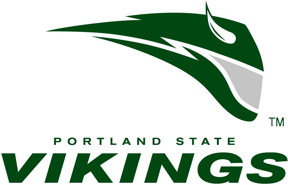 Portland State Vikings Logo Primary Logo (1999-2015) - Green streak with a horn along side script SportsLogos.Net