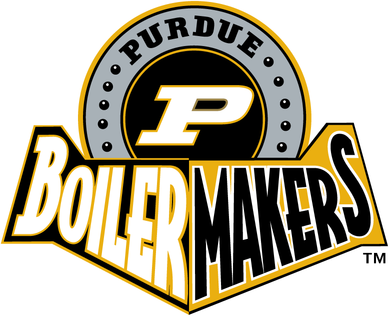Purdue Boilermakers Logo Alternate Logo (1996-2011) - P on a black circle with team name SportsLogos.Net