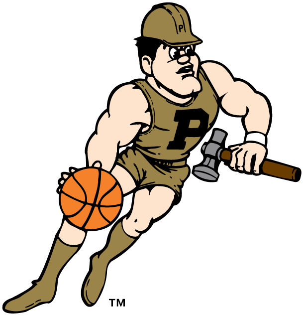 Purdue Boilermakers Logo Mascot Logo (1996-Pres) - Purdue Pete with a hammer and basketball SportsLogos.Net