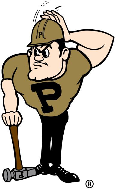 Purdue Boilermakers Logo Mascot Logo (1996-Pres) - Purdue Pete adjusting his helmet SportsLogos.Net