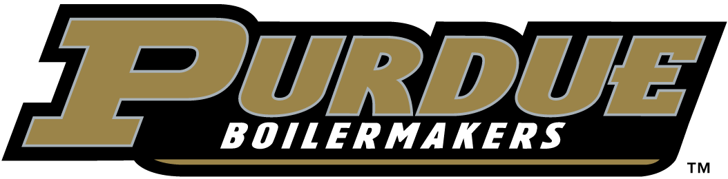 Purdue Boilermakers Logo Wordmark Logo (1996-2011) - Purdue in gold with black outline and Boilermakers in white SportsLogos.Net