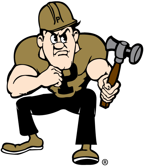 Purdue Boilermakers Logo Mascot Logo (1996-Pres) - Purdue Pete with a hammer SportsLogos.Net