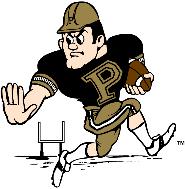 Purdue Boilermakers Logo Mascot Logo (1996-Pres) - Purde Pete with a football running across the field SportsLogos.Net