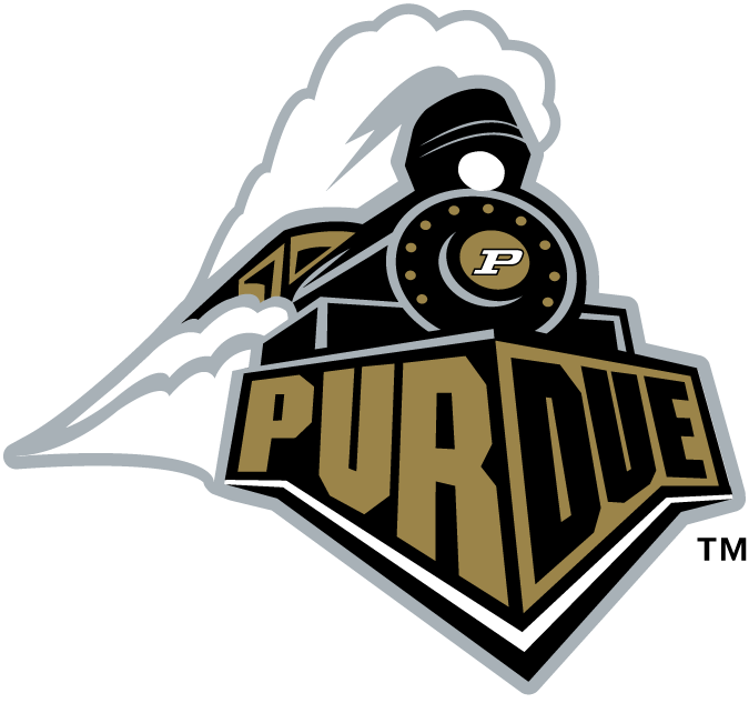 Purdue Boilermakers Logo Primary Logo (1996-2002) - Front of a Train with Purdue on the bumper and a P SportsLogos.Net