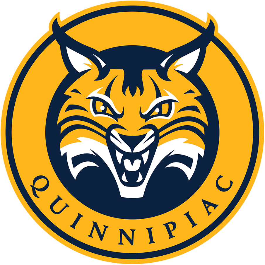 Quinnipiac Bobcats Logo Primary Logo (2019-Pres) - Yellow and blue bobcat inside a circle SportsLogos.Net
