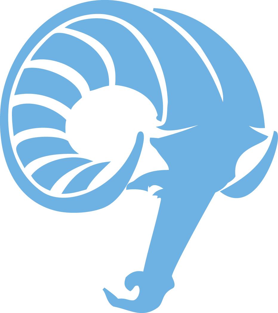 Rhode Island Rams Logo Alternate Logo (1989-2009) - Powder blue ram's head with script SportsLogos.Net