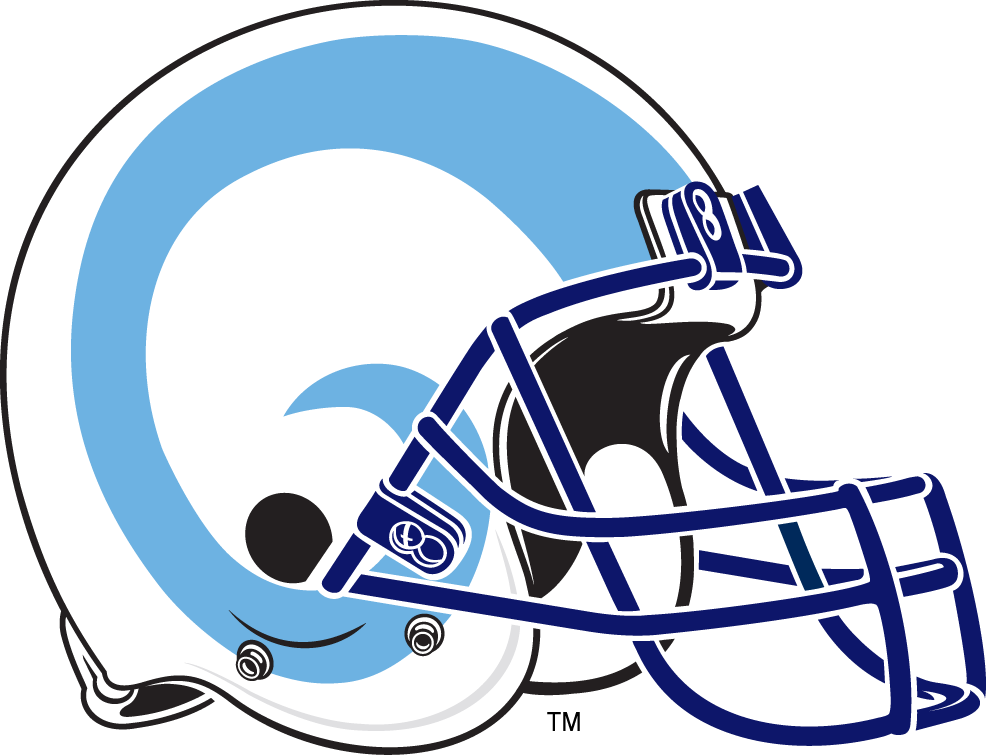 Rhode Island Rams Helmet Helmet (2000-2007) - Powder blue rams horn on a white helmet with navy facemask SportsLogos.Net