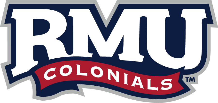 Robert Morris Colonials Logo Primary Logo (2020-Pres) - In 2020, Robert Morris University chose to streamline their identity and logos while also giving them a bit of a refreshed look. This included the school uniting behind an update of their wordmark logo promoting it to their primary brand. An RMU in white serifed letters above a red banner reading COLONIALS SportsLogos.Net