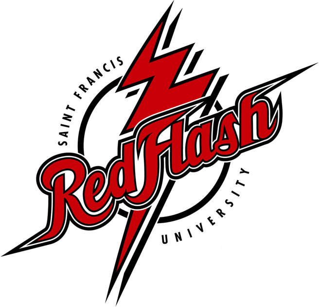 Saint Francis Red Flash Logo Primary Logo (2001-2011) - Lightning bolt with script in a circle SportsLogos.Net