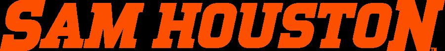 Sam Houston State Bearkats Logo Wordmark Logo (2020-Pres) - Sam Houston in orange italics SportsLogos.Net