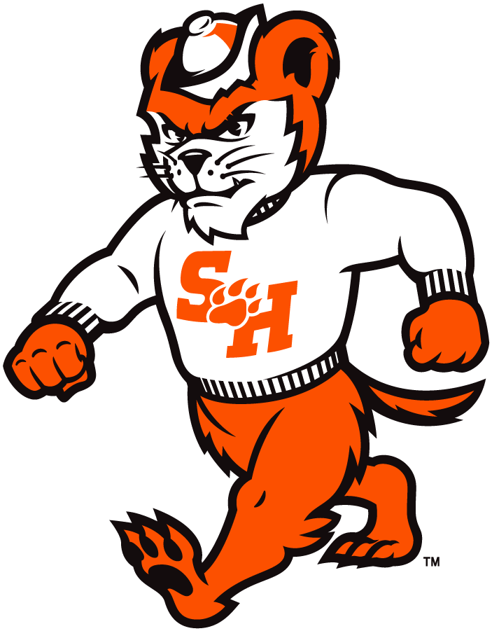 Sam Houston State Bearkats Logo Mascot Logo (2020-Pres) - As part of their rebranding efforts in 2020, the Sam Houston St Bearkats released this updated deciption of the school's mascot Sammy Bearkat wearing a school sweater with the new primary logo of an S and an H on its chest SportsLogos.Net