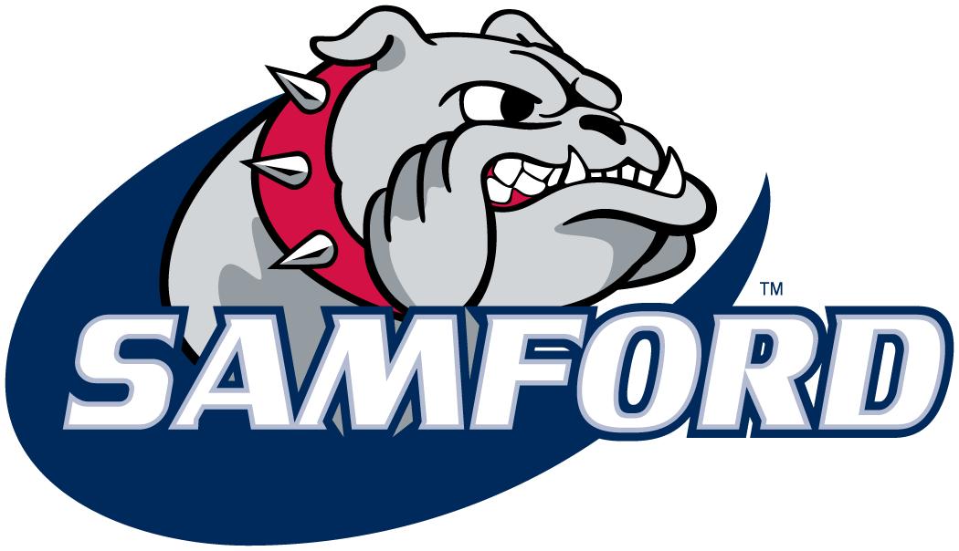 Samford Bulldogs Logo Primary Logo (2000-2015) - Growling bulldog with script SportsLogos.Net