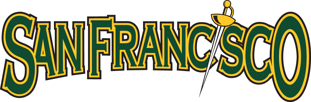 San Francisco Dons Logo Wordmark Logo (2001-2011) - San Francisco in green with gold outline SportsLogos.Net