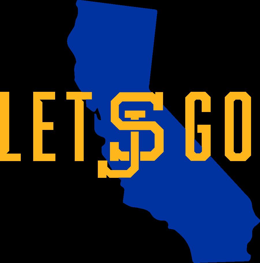 San Jose State Spartans Logo Alternate Logo (2018-Pres) - Let\'s Go with Interlock SJ Logo in gold on blue California state shape. SportsLogos.Net