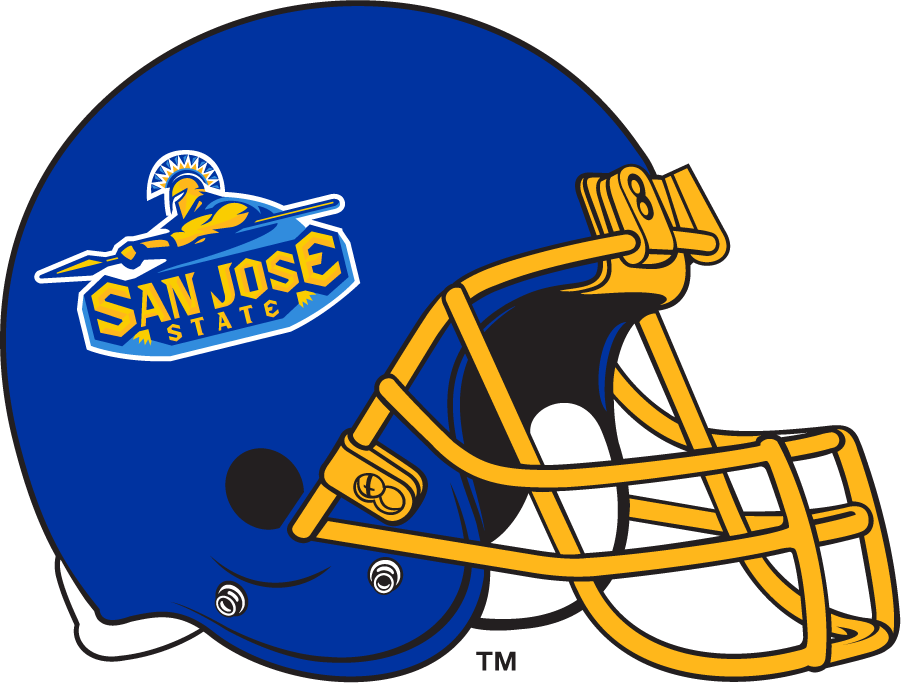 San Jose State Spartans Helmet Helmet (1999-2010) - Blue helmet with yellow facemask and primary Spartans logo used during this period. SportsLogos.Net