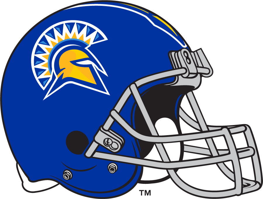 San Jose State Spartans Helmet Helmet (2014-2018) - Blue helmet with yellow facemask and primary Spartan logo used during this period. SportsLogos.Net