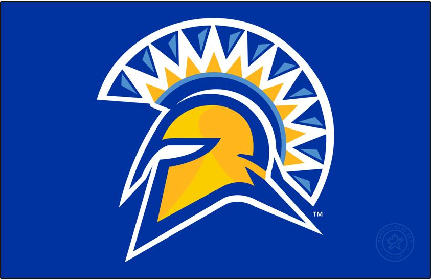 San Jose State Spartans Logo Primary Dark Logo (2010-2018) - Primary Spartan helmet on blue. SportsLogos.Net
