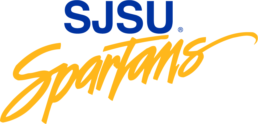 San Jose State Spartans Logo Wordmark Logo (1986-1999) - SJSU over script Spartans. Was later used for institutional purposes. SportsLogos.Net
