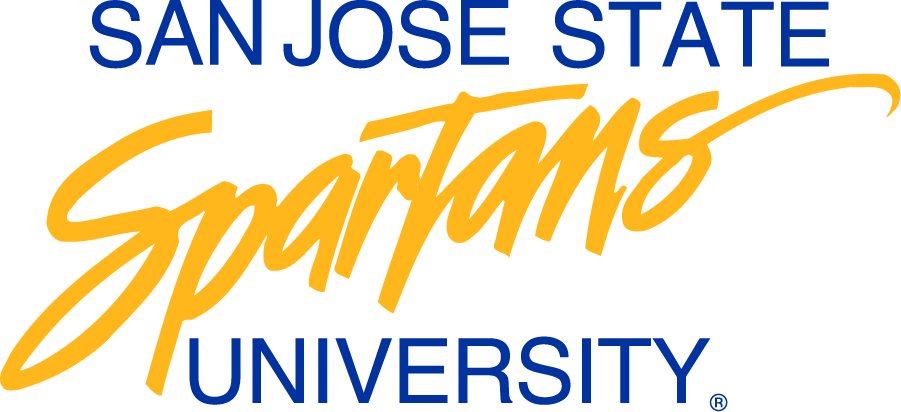 San Jose State Spartans Logo Wordmark Logo (1986-1999) - Short name over script Spartans over University. Was later used for institutional purposes. SportsLogos.Net