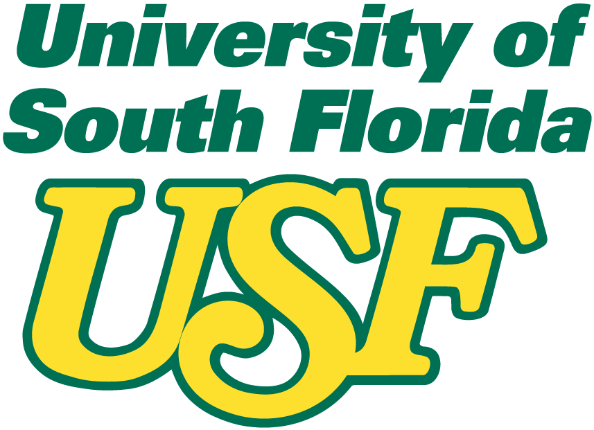 South Florida Bulls Logo Primary Logo (1982-1996) - USF in yellow under green script SportsLogos.Net