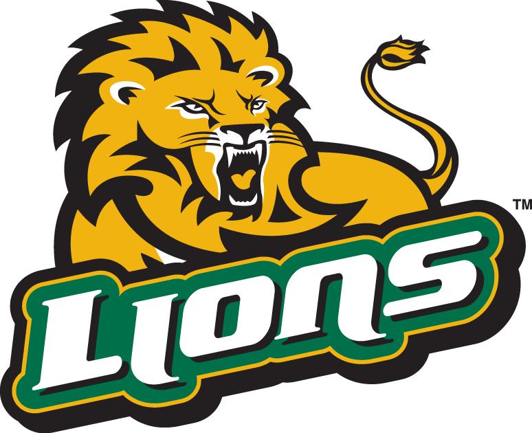 Southeastern Louisiana Lions Logo Secondary Logo (2003-Pres) - Golden Lion growling over script SportsLogos.Net