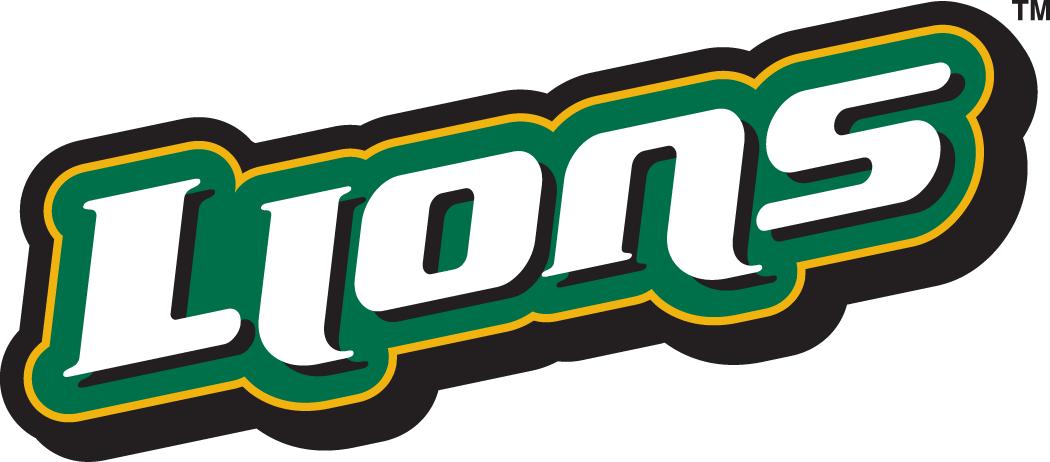 Southeastern Louisiana Lions Logo Wordmark Logo (2003-Pres) - Lions in white on green slanted up SportsLogos.Net