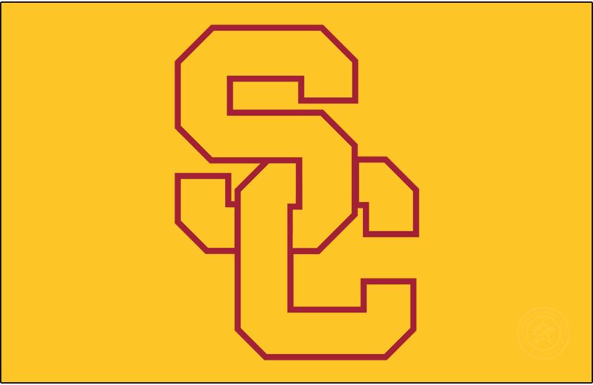 Southern California Trojans Logo Alt on Dark Logo (1993-2001) - SC Interlock with gold fill, cardinal outline on gold background. SportsLogos.Net