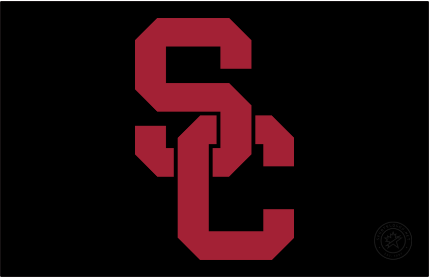 Southern California Trojans Logo Alt on Dark Logo (2016-Pres) - In April 2016, USC unveiled a design evolution incorporating consistent colors, logos, lettering, and numerals for a unified look for all Trojan sports in collaboration with Nike. The SC interlock remained the primary logo and mark for USC Athletics, but the current script-face TROJANS above the SC interlock was eliminated. The symmetry of the SC was slightly modified. Colors remained the same Cardinal and Gold. SportsLogos.Net