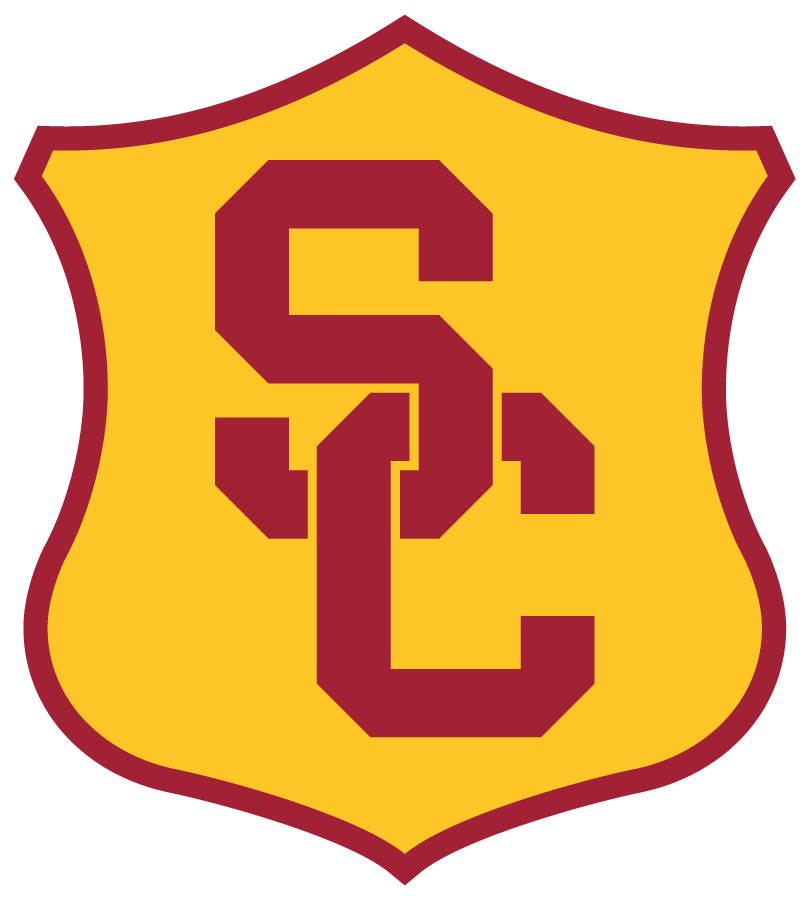 Southern California Trojans Logo Secondary Logo (2016-Pres) - In April 2016, USC unveiled a design evolution incorporating consistent colors, logos, lettering, and numerals for a unified look for all Trojan sports in collaboration with Nike. The SC Shield used for track was slightly modified to to include the new SC interlock. The original shield has been used since at least the 1970s. Colors remained the same Cardinal and Gold. SportsLogos.Net