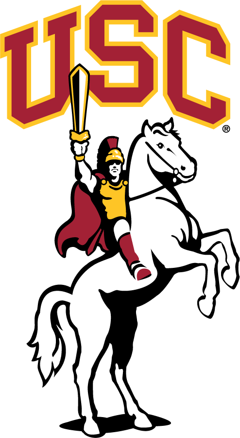 Southern California Trojans Logo Mascot Logo (2001-Pres) - Traveler Mascot with arch USC. SportsLogos.Net