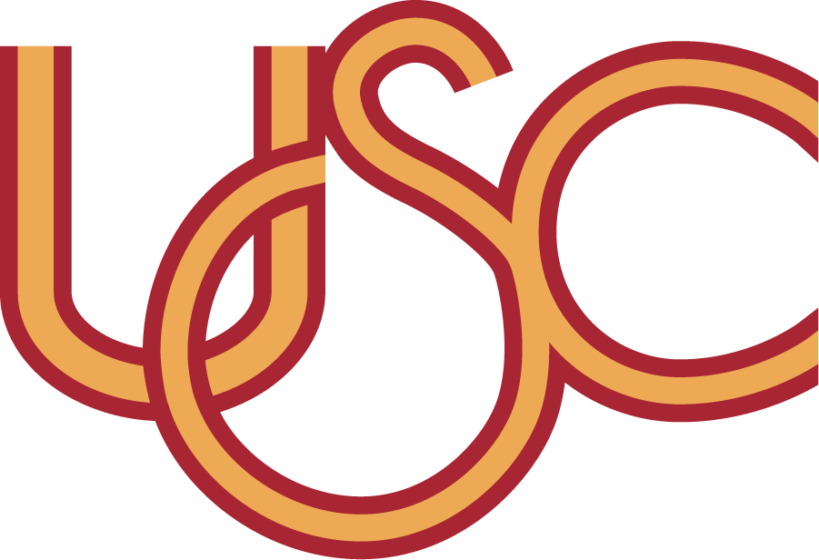 Southern California Trojans Logo Primary Logo (1983-1993) - In roughly 1983, USC started using this USC logo which appears to be in different cardinal & gold then other years. The design was probably influenced by the Olympic Rings as the 1984 Summer Olympics were hosted in Los Angeles. Commonly appears with a generic TROJANS font above. Not the official version. SportsLogos.Net