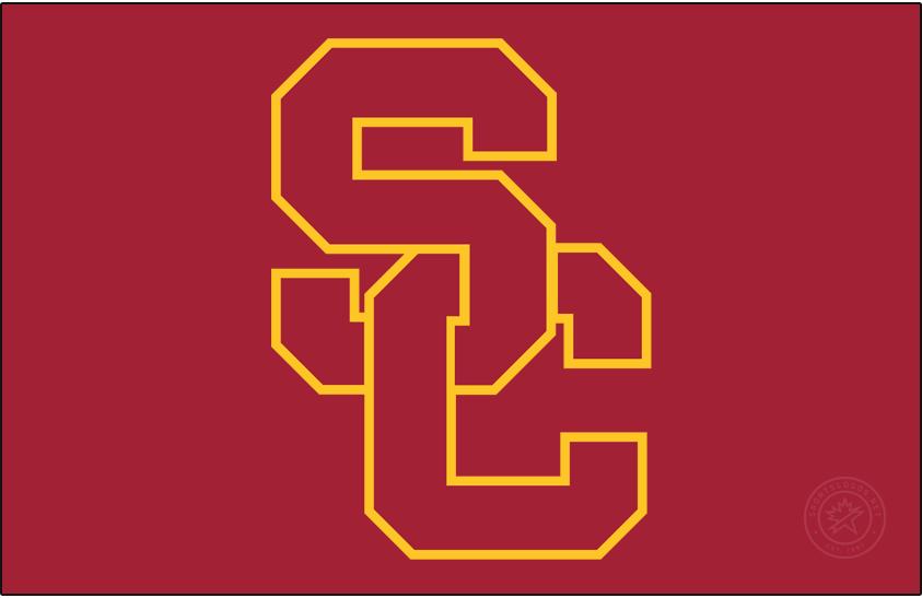 Southern California Trojans Logo Primary Dark Logo (1993-2001) - SC Interlock on cardinal. SportsLogos.Net