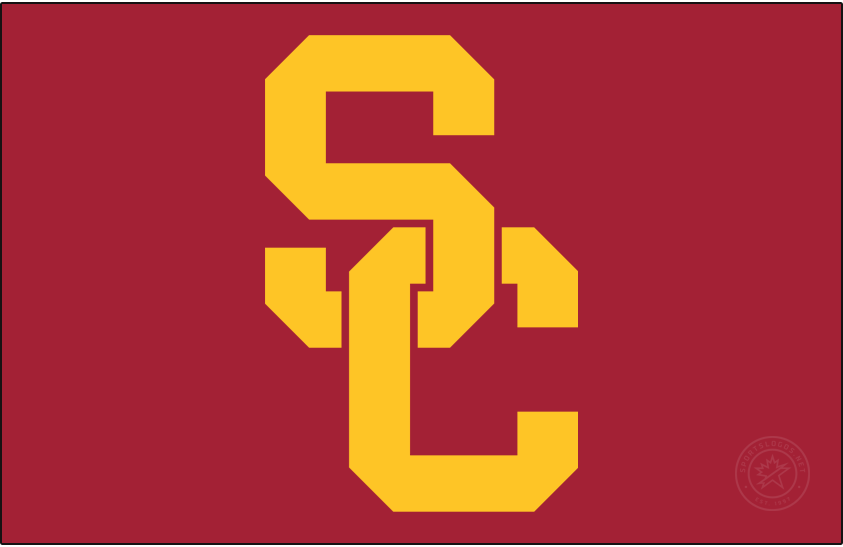 Southern California Trojans Logo Primary Dark Logo (2016-Pres) - In April 2016, USC unveiled a design evolution incorporating consistent colors, logos, lettering, and numerals for a unified look for all Trojan sports in collaboration with Nike. The SC interlock remained the primary logo and mark for USC Athletics, but the current script-face TROJANS above the SC interlock was eliminated. The symmetry of the SC was slightly modified. Colors remained the same Cardinal and Gold. SportsLogos.Net