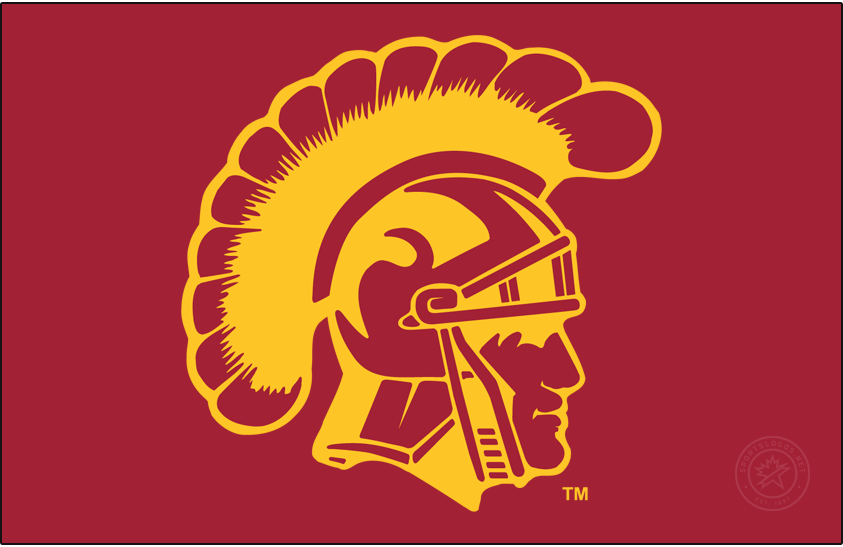 Southern California Trojans Logo Secondary Logo (1972-Pres) - Football-only Trojan Head on cardinal. Worn on their football helmets every year since 1972 except in 1992. SportsLogos.Net