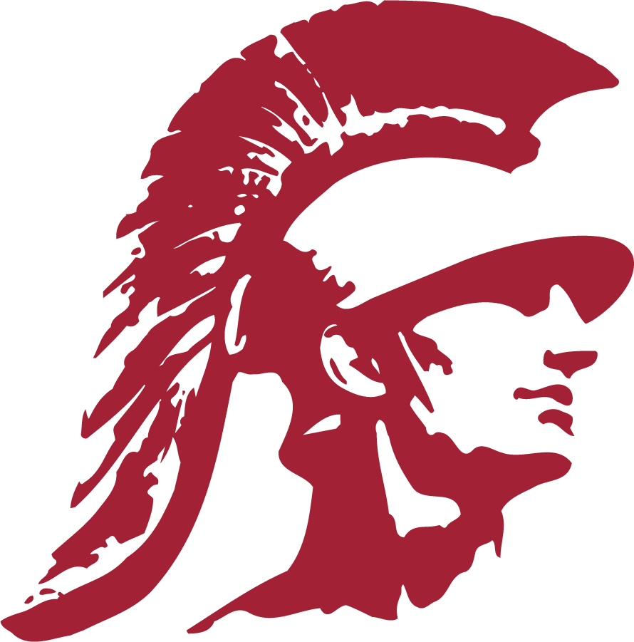 Southern California Trojans Logo Secondary Logo (1974-2016) - Trojan head in cardinal. SportsLogos.Net
