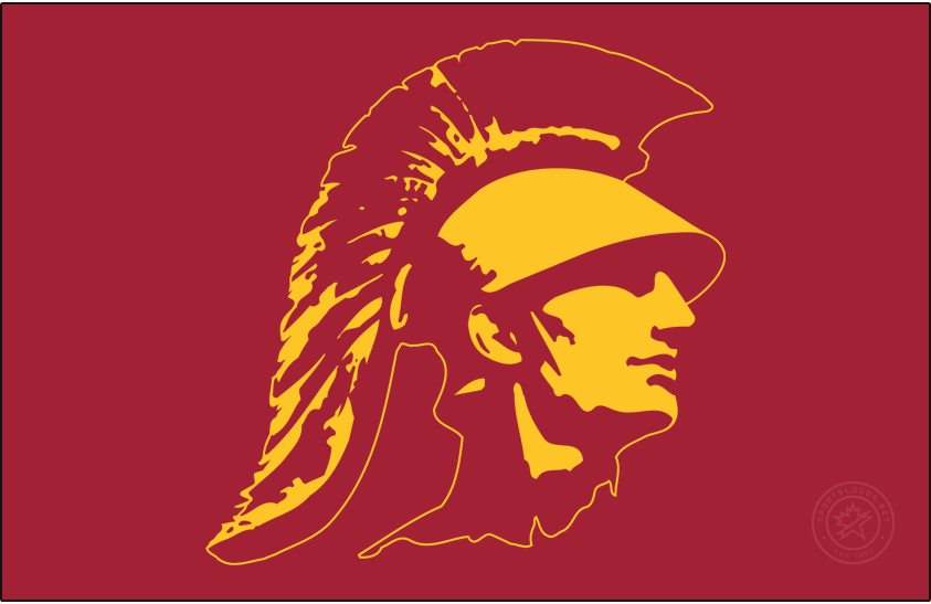 Southern California Trojans Logo Secondary Logo (1974-2016) - Trojan head in gold on cardinal. SportsLogos.Net