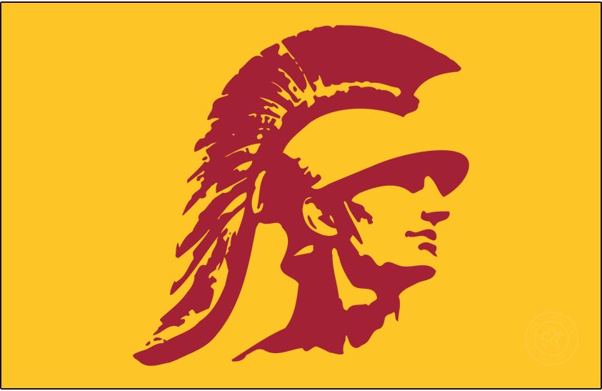 Southern California Trojans Logo Secondary Logo (1974-2016) - Trojan head in cardinal on gold. SportsLogos.Net