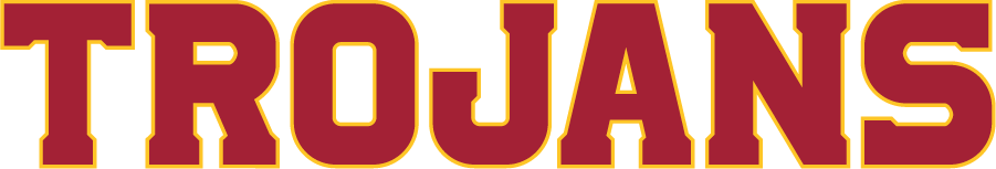 Southern California Trojans Logo Wordmark Logo (2016-Pres) - In April 2016, USC unveiled a design evolution incorporating consistent colors, logos, lettering, and numerals for a unified look for all Trojan sports in collaboration with Nike. A new custom alphabet and numeral type font, based on Greek Doric architecture, is used for USC\'s word marks. Colors remain the same Cardinal and Gold. SportsLogos.Net