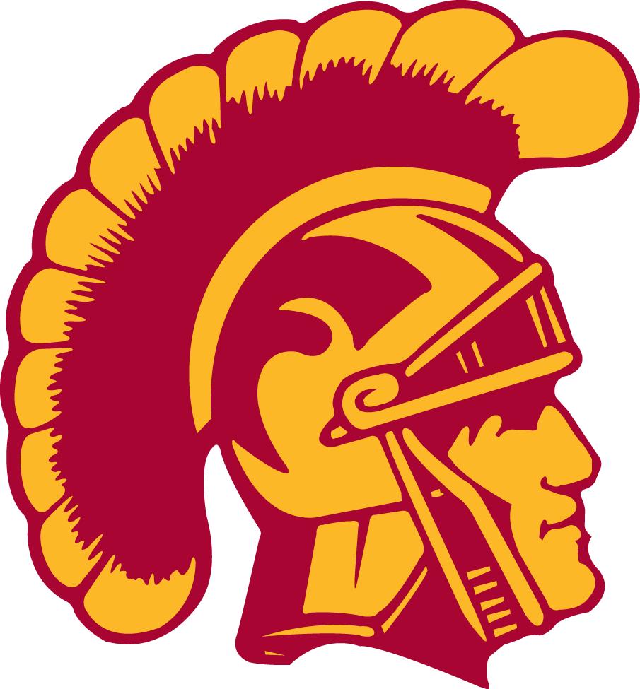 Southern California Trojans Logo Primary Logo (1972-1992) - Yellow and red Trojan head SportsLogos.Net