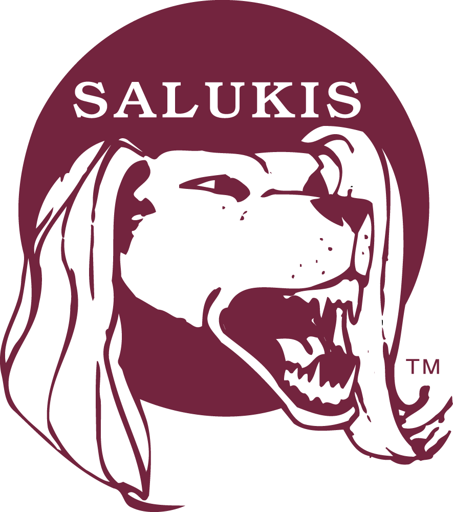 Southern Illinois Salukis Logo Primary Logo (1977-2000) - Long haired dog's head on a red cricle SportsLogos.Net