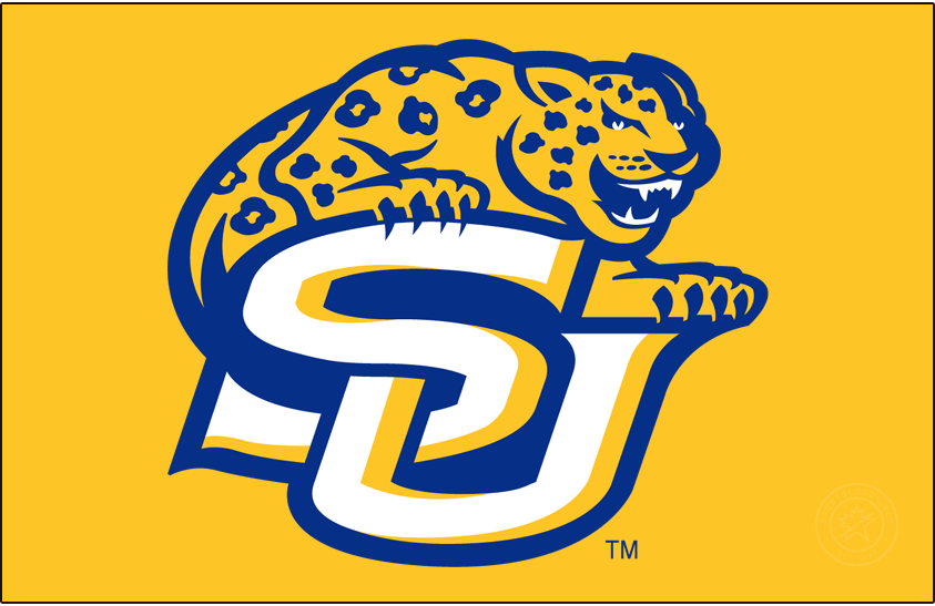 Southern Jaguars Logo Primary Dark Logo (2001-2016) - Jaguar over SU in blue and yellow. SportsLogos.Net