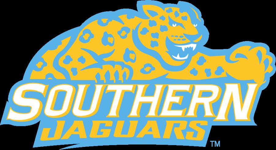 Southern Jaguars Logo Secondary Logo (2014-2016) - Jaguar over Southern Jaguars. SportsLogos.Net