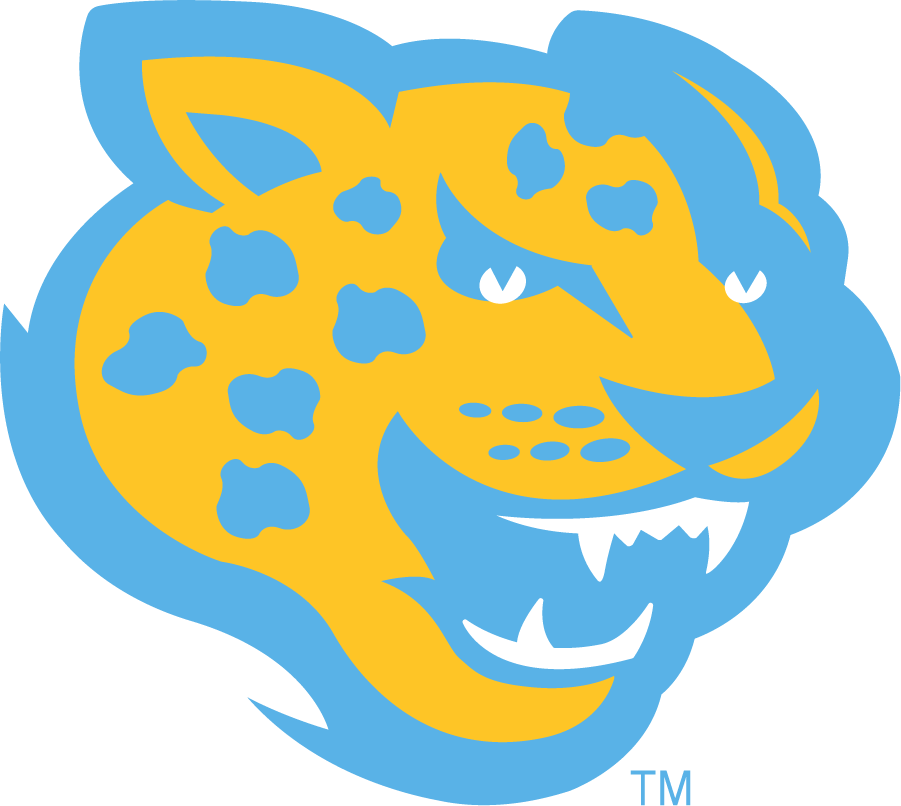 Southern Jaguars Logo Secondary Logo (2016-Pres) - Jaguar head in yellow and light blue. SportsLogos.Net