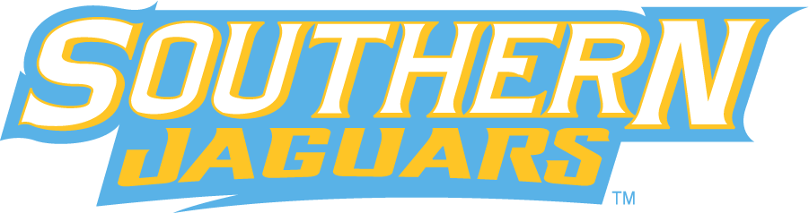 Southern Jaguars Logo Wordmark Logo (2014-Pres) - Southern Jaguars in yellow and light blue. SportsLogos.Net