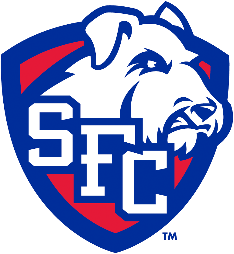 St. Francis Terriers Logo Secondary Logo (2014-Pres) - Red and blue shield with SFC in white and terrier dog head SportsLogos.Net