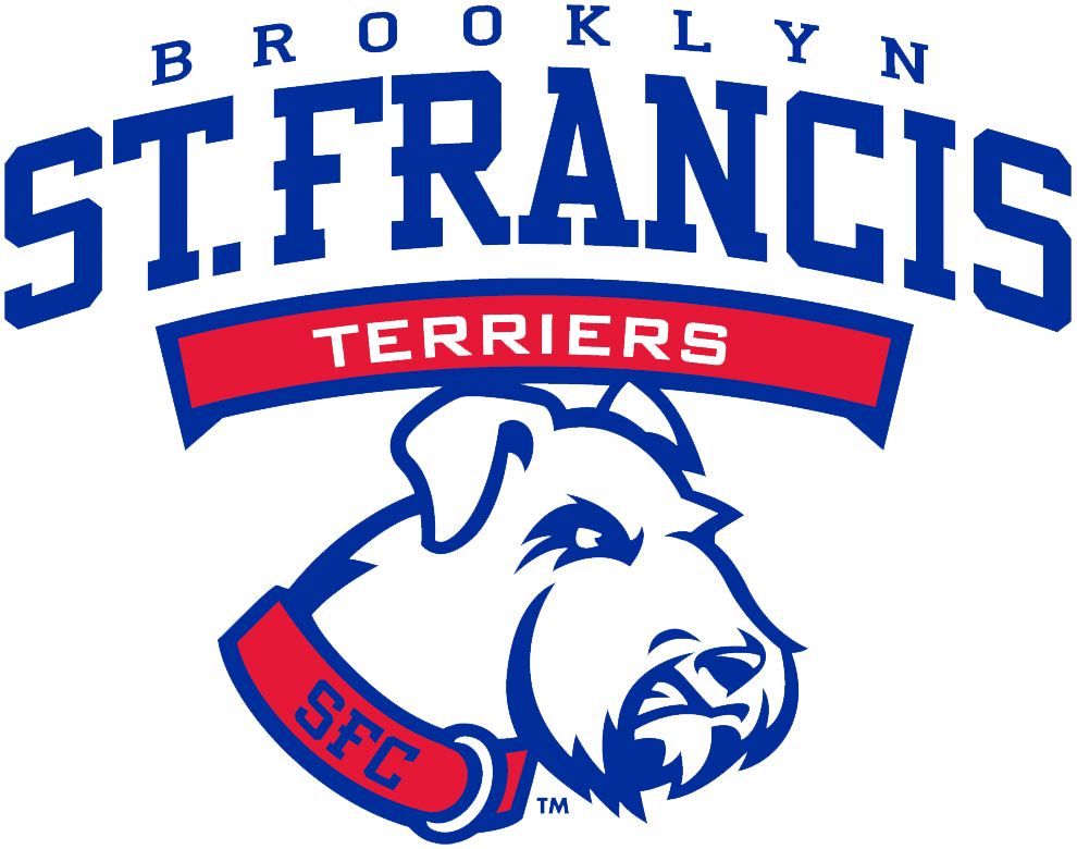 St. Francis Terriers Logo Primary Logo (2014-Pres) - A terrier dog head wearing red collar featuring school initials below wordmark SportsLogos.Net
